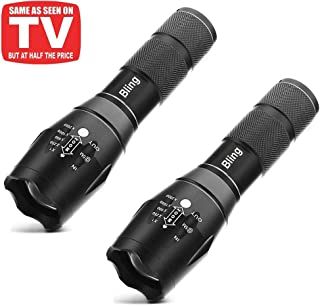 Tactical Flashlight, Bling 1600 Lumens Ultra Bright - CREE XML T6 LED Taclight As Seen On Tv, Focus Adjustable, 5 Modes,Water Resistant Portable For Outdoor Camping Hiking (2 PACK)