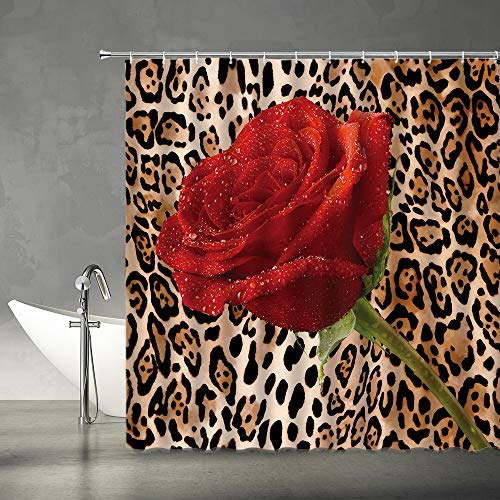 XZMAN Leopard Shower Curtain Red Rose Mix Wild Animal Leopard Print Pattern Background Romantic Creative Polyester Home Bathroom Curtains Decor Set Include Hooks,(70' WX70 H)