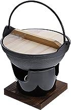 BESTONZON Sukiyaki Tetsu Nabe Pot Japanese Soup Pot Camping Hiking Cookware Serving Shabu Pot with Stove for Outdoor Picni...