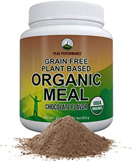 Organic Vegan Paleo Meal Replacement Powder. Grain-Free Complete Raw Plant Based Meal with 20g Plant Protein + Organic Gre...