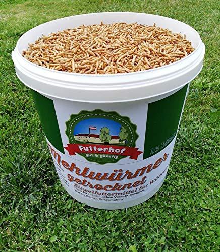 Futterhof getrocknete Mehlwürmer 10ℓ Eimer (= 1,65 kg), Premium Qualität, GRATIS Versand mit DHL