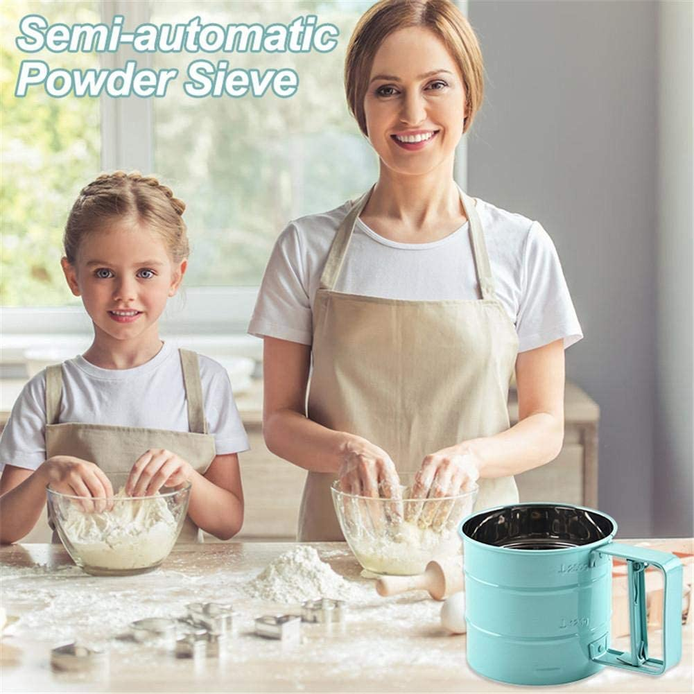 Staub//Trennen Mehlsieb Einhand Edelstahl Halbautomatisches Mehlsieb aus Edelstahl Ergonomisch und angenehm zu halten f/ür Mehlsieb Kakaopulver