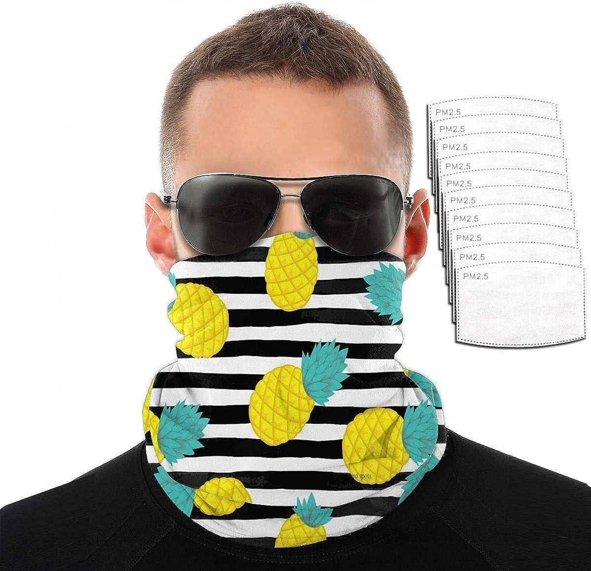 KiuLoam Bandana Face Mask Reusable,Pineapple Stripes Neck Gaiter Balaclava for Women Men