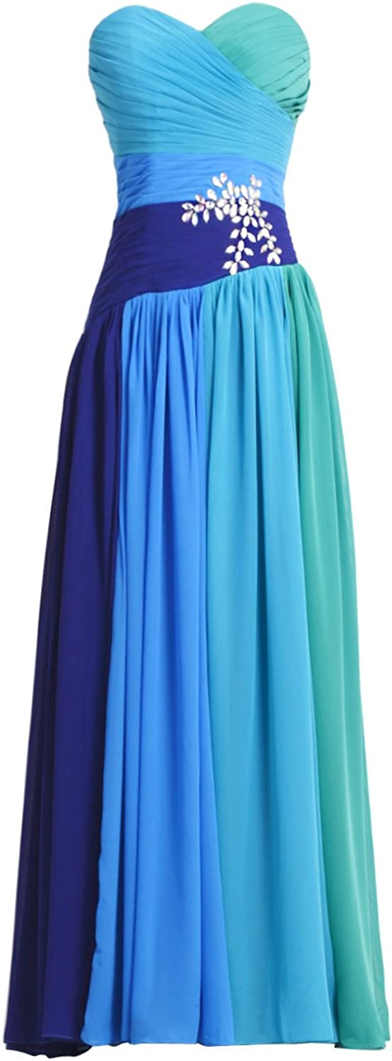 Vampal bluee Strapless Sweetheart Ombre Prom Dress With Ruched Bust And Beading