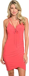 Imaginary Diva Sexy Pink Fitted Stretch V-Neck Party Clubwear Dress