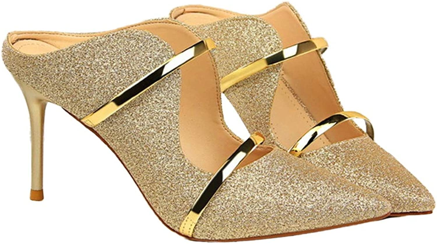 Sam Carle Women Pumps, Fashion Sequined Pointed Toe Shallow High Thin Heel Party shoes