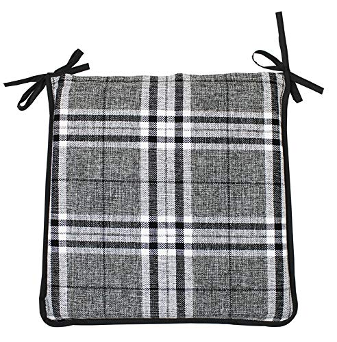 CnA Stores Set of 4 Tartan Check Reversible Kitchen Dining Garden Chair Cushion Seat Pads With Ties Zipped Removable Covers (Grey)
