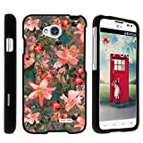 Compatible with LG Ultimate 2 L41C / LG Optimus L70 / LG Realm LS620 Snap On Case, Slim Fit Snug Rubberized Custom Cover Shell Black by TurtleArmor - Pink Floral Burst