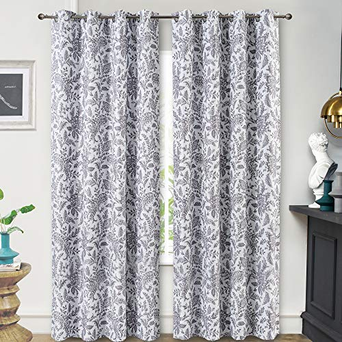 DriftAway Isla Paisley Floral Printed Pattern Blackout Room Darkening Thermal Insulated Grommet Lined Window Curtains 2 Panels Each 52 Inch by 84 Inch Gray