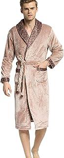 STJDM Camicia da Notte,Accappatoio in Cotone da Uomo con Camicia da Notte Classica Scozzese Vestaglia Accappatoio da Uomo di Lusso Autunno Inverno Abito Lungo Accappatoio da Uomo Pigiama M LX-98654