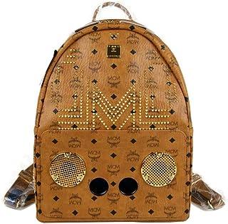 MCM Men's Wizpak Cognac Coated Canvas Studded Medium Backpack MMK8AOC86CO00