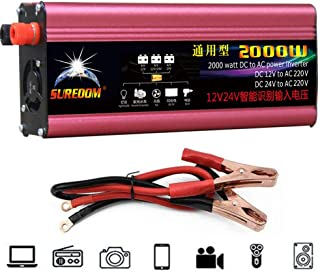 GBHJJ 2000 W växelriktare, DC till växelström 12 V till 220 V – 230 V, med USB-laddningsportar och växelströmsutgång, modi...
