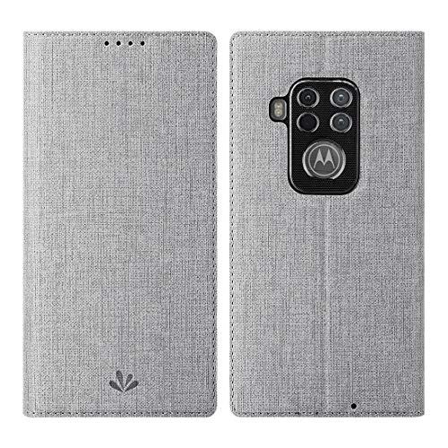 Foluu Motorola One Zoom Hülle, Flip Folio Wallet Case Slim Premium PU Leder Hülle ID Kreditkartensteckplätze Kickstand Magnetverschluss Klar TPU Bumper Cover für Motorola One Zoom 2019 (Grau)