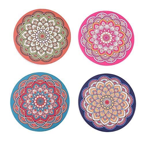 Flanacom Design Untersetzer im 4er Set – Dekorative Keramik Untersetzer für Glas, Tassen, Vasen, Kerzen und Töpfe auf ihrem Esstisch - Premium Boho/Orientalisch Design (4er Set Rund)