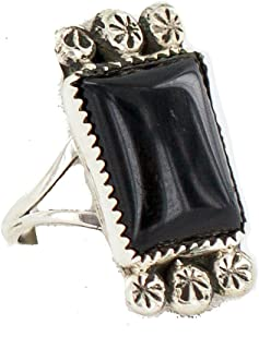 $380Tag Silver Navajo Certified Natural Onyx Native American Ring Size 8 18203-5 Made by Loma Siiva