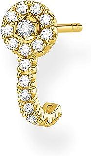 Thomas Sabo - Pendientes individuales para mujer con piedras blancas doradas, plata de ley 925