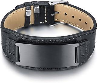 Vnox Cintura in Pelle da Uomo Personalizzata in Vera Pelle con Fibbia Regolabile Bracciale Nome Data Citazione Incisione P...