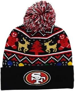 Genuine Merchandise New Era San Francisco 49ers Holdiay Cuffed Beanie w/Pom One Size Hat Cap - Team Colors On Field Christmas Edition Knit