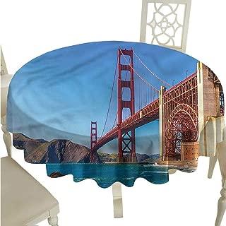 ScottDecor Christmas Tablecloth Travel,Marshall Beach in California Circular Table Cover Round Tablecloth D 60