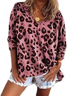 GUOCAI Women Plus Size Tee Long Sleeve V Neck Tops Leopard Print T-shirt Blouse