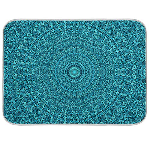 Teal Boho Mandala Absorbent Dish Drying Mats for Kitchen Counter Microfiber Dish Drying Mat - 18x24In