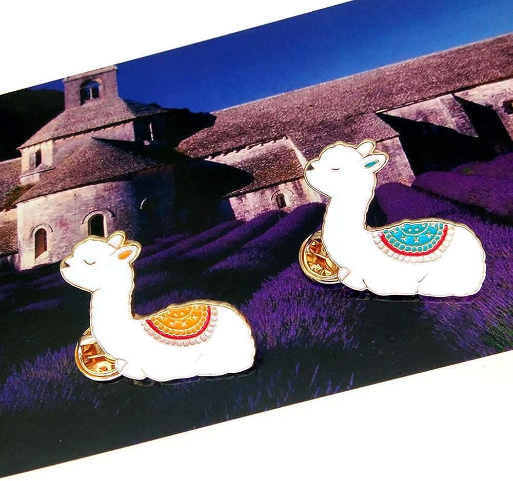 CAROMAY 2 PC Llama Lapel Pins Set Kawaii Alpaca Sheep Enamel Brooches Yamma Brother Sisters Lover Men Women Kids Gift