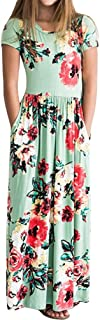 Girls Floral Maxi Dress, Flower Printed Short Sleeves Dress with Pockets Summer Long Holiday Dress