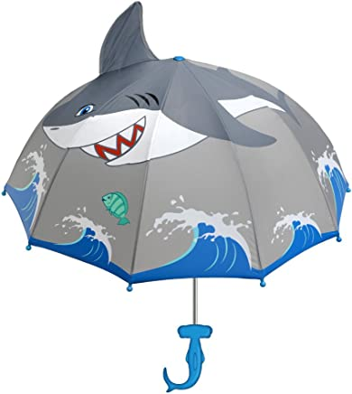 Kidorable Shark Grey Umbrella for Boys w/Fun Hammerhead Handle, Pop-Up Fin, Ocean Trim