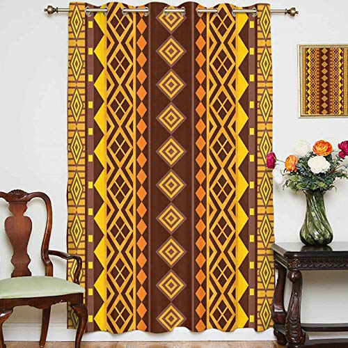 """Blackout Shading Curtains Vertical African Geometric Ornate Bound Triangle and Diagonal Shapes Art Print Grommets Panels Printed Curtains for Living Room Bedroom,Single Panel,54"""" x 84"""",Brown Yellow"""