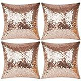 Juego de 4 fundas de almohada de satén y lentejuelas brillantes, cuadradas, de color sólido, para decoración del hogar (solo funda, sin relleno) (oro rosa, 45 x 45 cm)