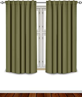 Utopia Bedding Blackout Room Darkening and Thermal Insulating Window Curtains/Panels/Drapes - 2 Panels Set - 7 Back Loops per Panel - 2 Tie Backs Included (Olive, 52 x 63)