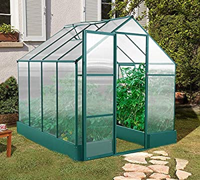 Hanover HANGRNHSP8X6-GRN 8 x 6-Ft. Polycarbonate Walk-in Greenhouse, Natural/Silver