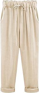 Yeokou Women's Casual Loose Baggy Linen Drawstring Summer...