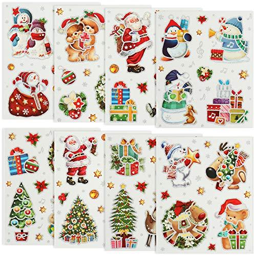 com-four® 63x weihnachtliche Fenstersticker - Selbstklebende Fensterbilder - Fensterdekoration [Auswahl variiert] (63 Stück - silberfarbener Rand)