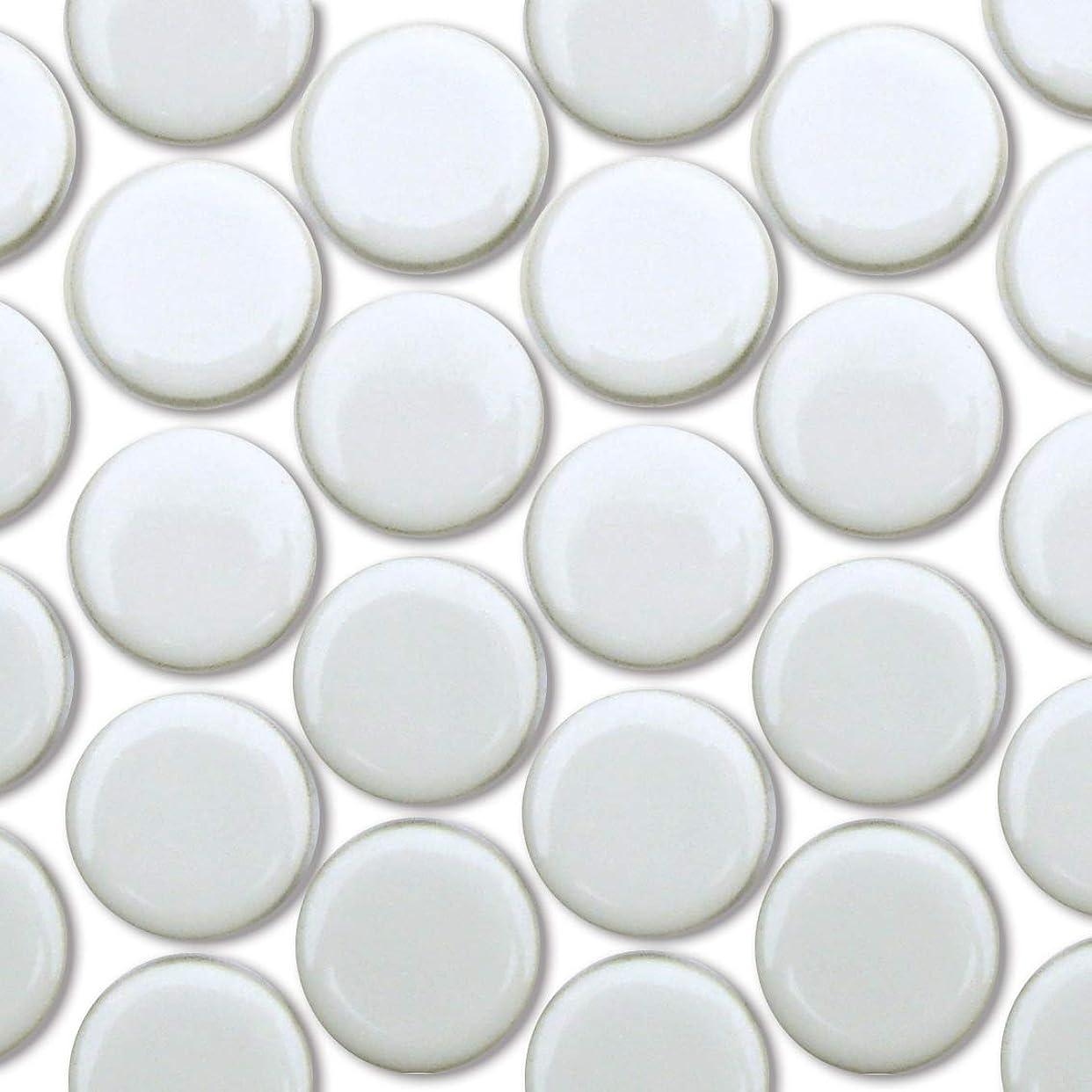 精神環境挑発するモザイクタイル 19mm丸 ホワイト