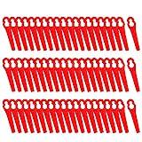 FORMIZON 60 Pcs Cuchillas de Plástico, Cuchillas de Recambio para Cortacésped Bosch, Art 23-18Li, Art 26-18Li, 1083-B3-0009 (Rojo)
