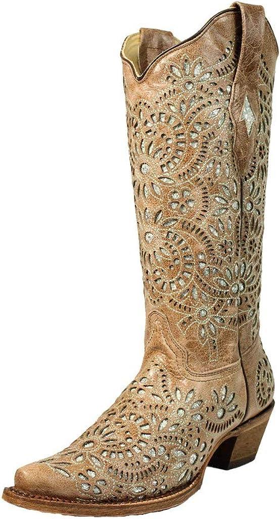 Corral Women's 13-inch Brown Glitter