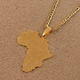 Map Necklace For Women,Afrika Karte Mit Ghana Anhänger Halsketten Für Männer Frauen Gold Farbe Charme Karten Patriotischer Schmuck Ethnische Zubehör Weihnachten Geschenke - 60 Cm (24 Zoll)-Thin_