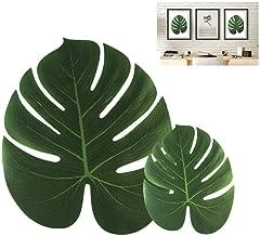Yakamoz 24PCS Feuilles Artificielles de Palmier Souple Feuille Simulation Tropical Plantes Feuilles Vertes Artificielles avec Deux Tailles de Feuilles Combinées pour Luau/Hawaiian/Jungle/Beach