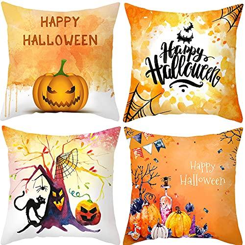 4 fundas de cojín de 45 x 45 cm, piel de melocotón, de terciopelo, para Halloween, Acción de Gracias, Navidad, para sofá, decoración, (C)