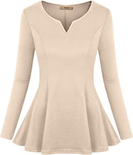 Women's Long Sleeve V Neck Pleated Fitted Tunic Peplum Tops