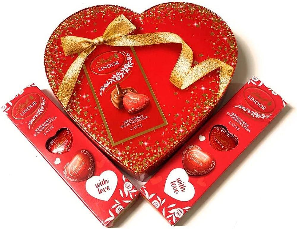 Lindt,san valentino, 2 confezioni tubino cuori di latte ,piu` 1 scatola di cioccolattini,lindt lindor