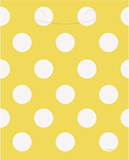 Unique Party Polka Dot Loot/Gift Bags (Pack of 8) (UK Size: One Size) (Yellow/White)
