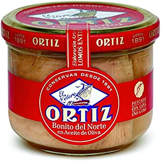 White Bonito Tuna in Olive Oil by Ortiz - 220g Glass Jar (7.76 ounce)