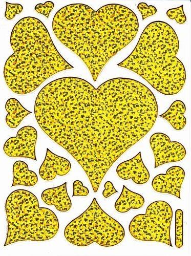 Coeur Amour Love Or autocollants 23 pièces 1 feuilles 135 mm x 100 mm Stickers bricolage enfants PARTY métallique