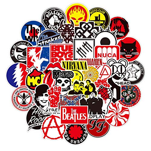 50 Pcs Rock Band Stickers Decals for Water Bottle Laptop Luggage Car Bike Bicycle Music Stickers Pack Guitar Laptop Bass Piano Violin Luggage Skin