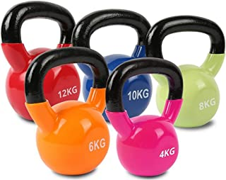 Prosportsae Vinyl Kettlebell with Firm Grip Handle for Stability, Endurance, and Strength Training – Solid Cast Iron Exerc...