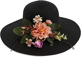 Women's Foldable Casual Sun Hat Sombrero Straw Hat Sun Flower UV Protection Hat` TuanTuan (Color : Black, Size : 56-58CM)