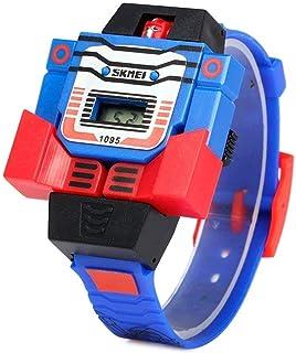SKMEI Reloj Digital Para Niño Figura de Robot, Diseño Infantil, Carátula Desprendible Que Se transforma en Juguete De Robo...