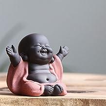 Ceramic Maitreya Buddha Statue Tea Sculpture Hand Carved Figurine Craft Display Ornament Home Tea Ceremony Decoration Styl...